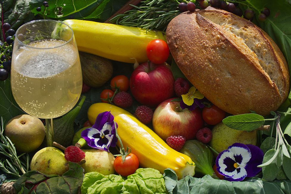 Fruit, vegetables and bread