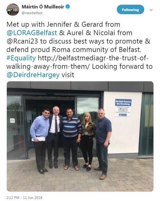 A tweet about the Roma community by Sinn Féin MLA Máirtín Ó Muilleoir