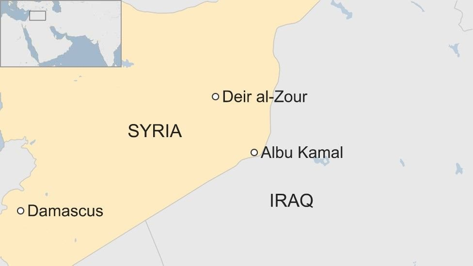 Map showing location of Deir al-Zour and Albu Kamal in Syria