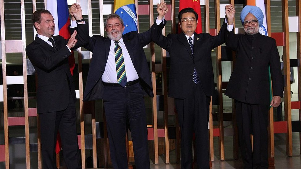 Dmitry Medvedev, Lula da Silva, Hu Jintao y Manmohan Singh.