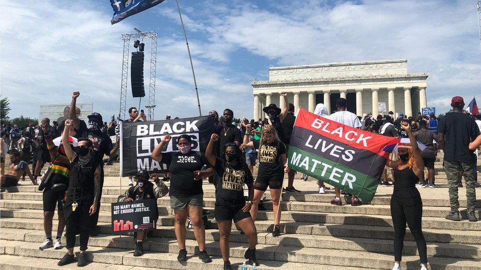 Black Lives Matter protesters stand near the Lincoln Memorial on 28 August, 2020