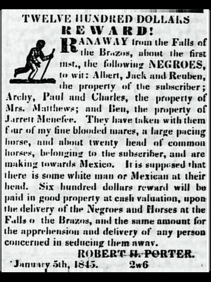 Aviso de prensa ofreciendo recompensa por la devolución de unos esclavos fugados.