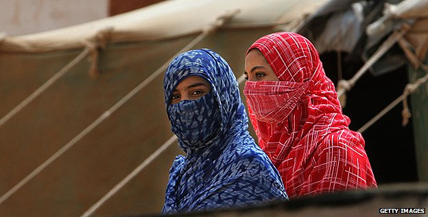 Women in a refugee camp in Tindouf, Algeria