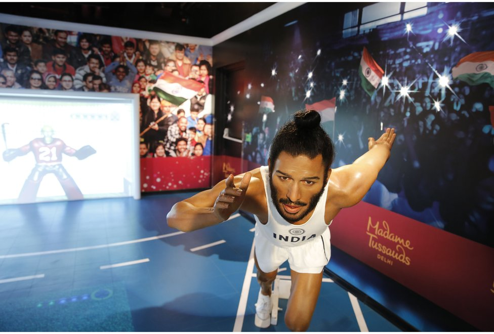 Waxwork of athlete Milkha Singh
