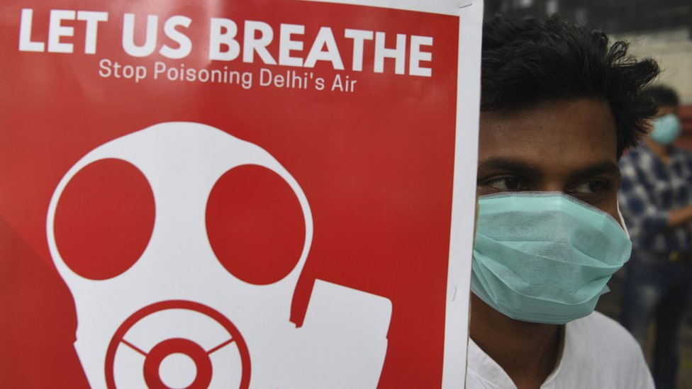 A demonstrators wearing a face mask due to heavy smog conditions takes part in a demonstration on 3 Nov