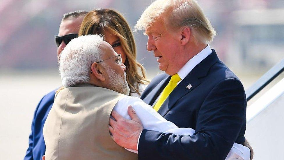 India PM Modi hugs US President Donald Trump