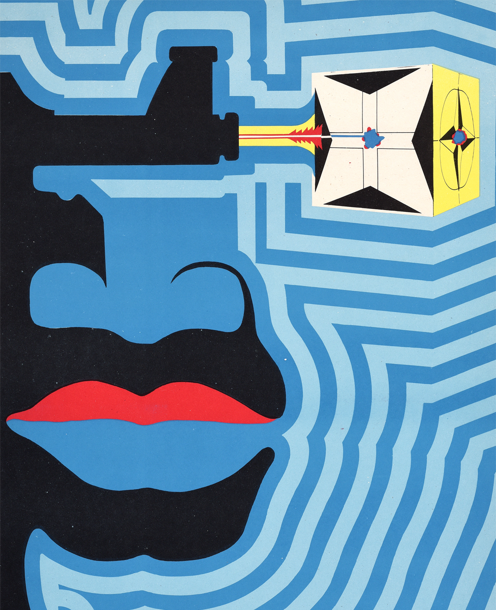 An Ospaaal entitled Day of Solidarity with Angola, 1972, with a patterned poster and face