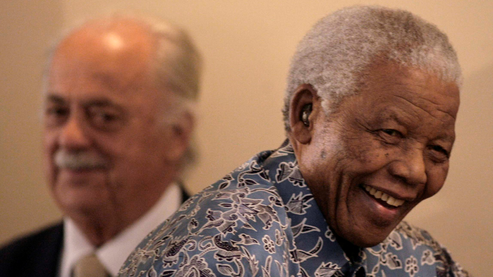 George Bijos and Nelson Mandela in 2009
