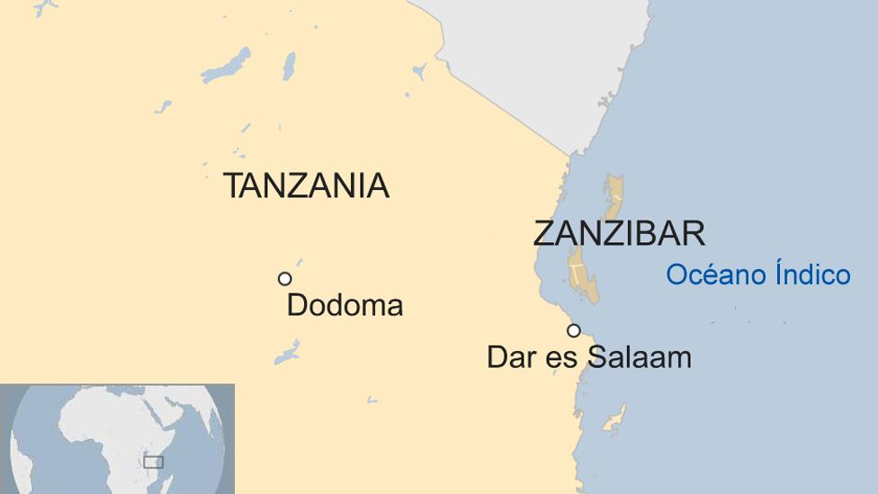 Mapa de Zanzíbar dentro del continente africano.