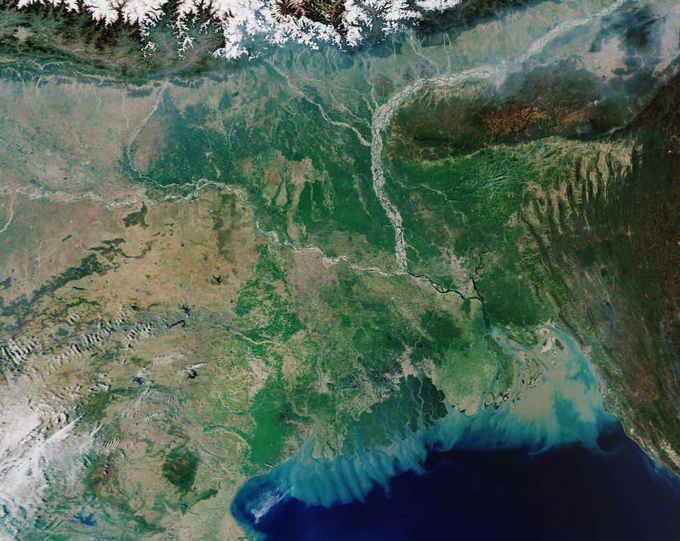 Satellite image of the Ganges Delta showing the change in ocean colour in the Bay of Bengal due to the sediments and nutrients carried by three rivers