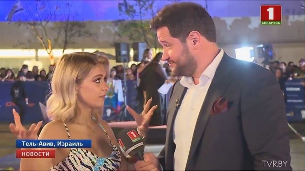 Yavhen Perlin interviewing Eurovision performer from Belarus Zena