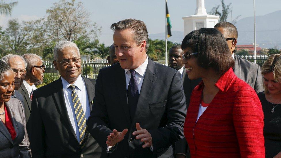 David Cameron and Portia Simpson Miller in Jamaica