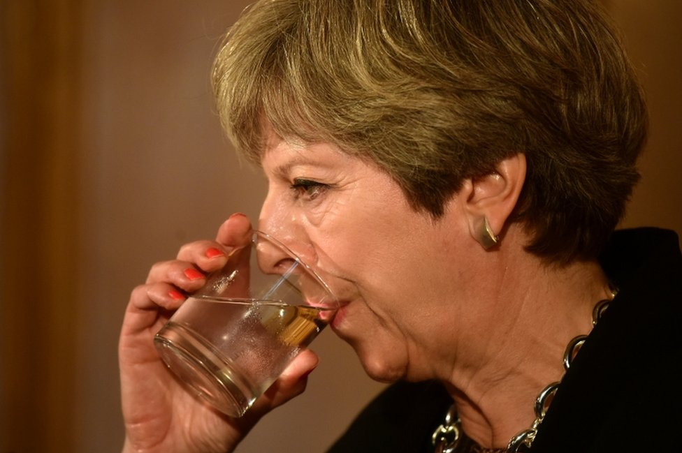 British Prime Minister Theresa May drinks from a glass of water during a press conference with Australia's Prime Minister Malcolm Turnbull at Downing Street on 10 July, 2017.