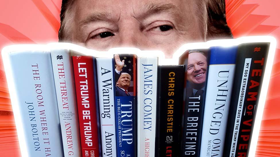 Una foto compuesta de Donald Trump y varios libros que se han escrito sobre él