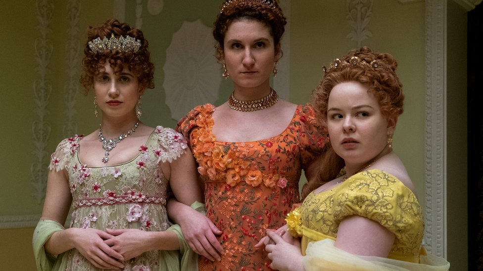 HARRIET CAINS as PHILLIPA FEATHERINGTON, BESSIE CARTER as PRUDENCE FEATHERINGTON and NICOLA COUGHLAN as PENELOPE FEATHERINGTON