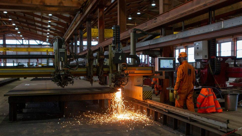 Cutting steel at Arnish