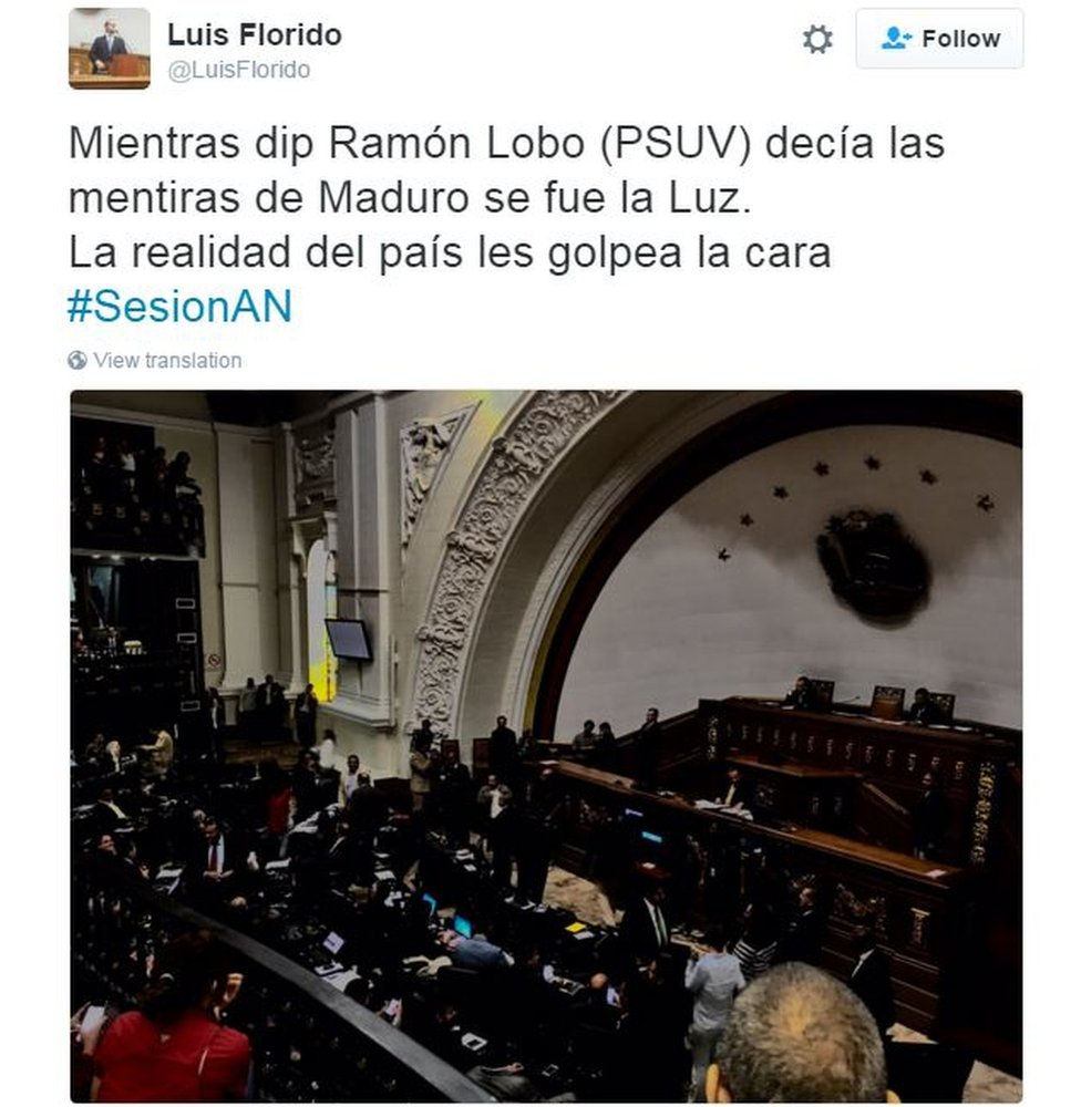 "Tweet from Venezuelan MP Luis Florido in Spanish reads: ""As MP Ramon Lobo was saying Maduro's lies, the energy went off. The country's reality has hit them in the face."""