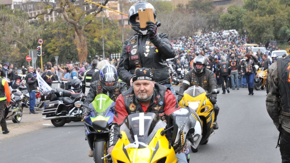 Bikers representing various clubs ride to the Union Building to lay crosses and flowers to symbolize the murdered farmers across the country on August 29, 2020 in Pretoria, South Africa.
