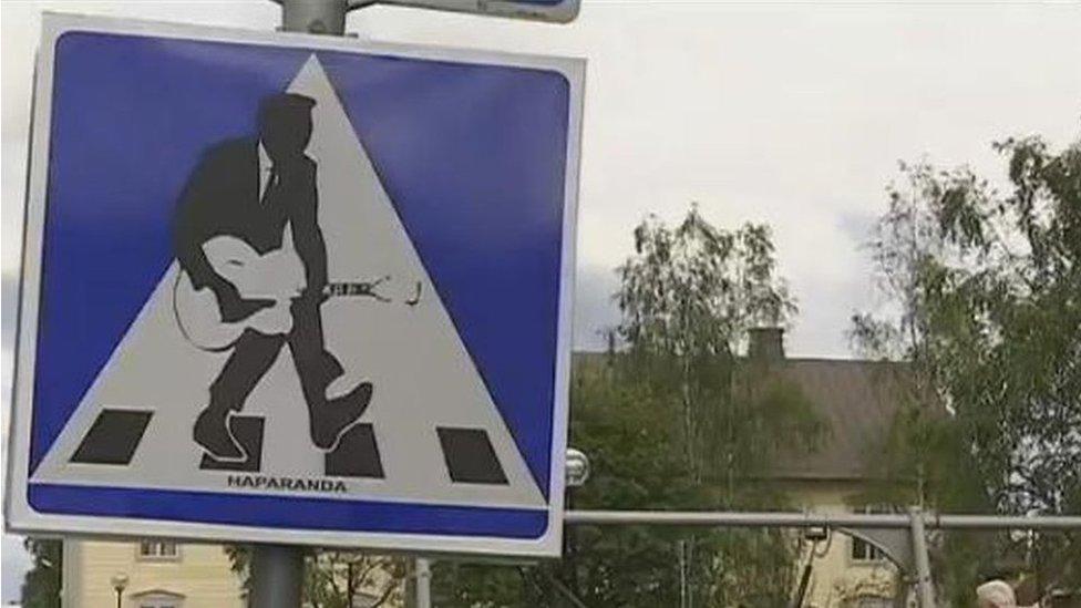 Street sign in Haparanda, Sweden