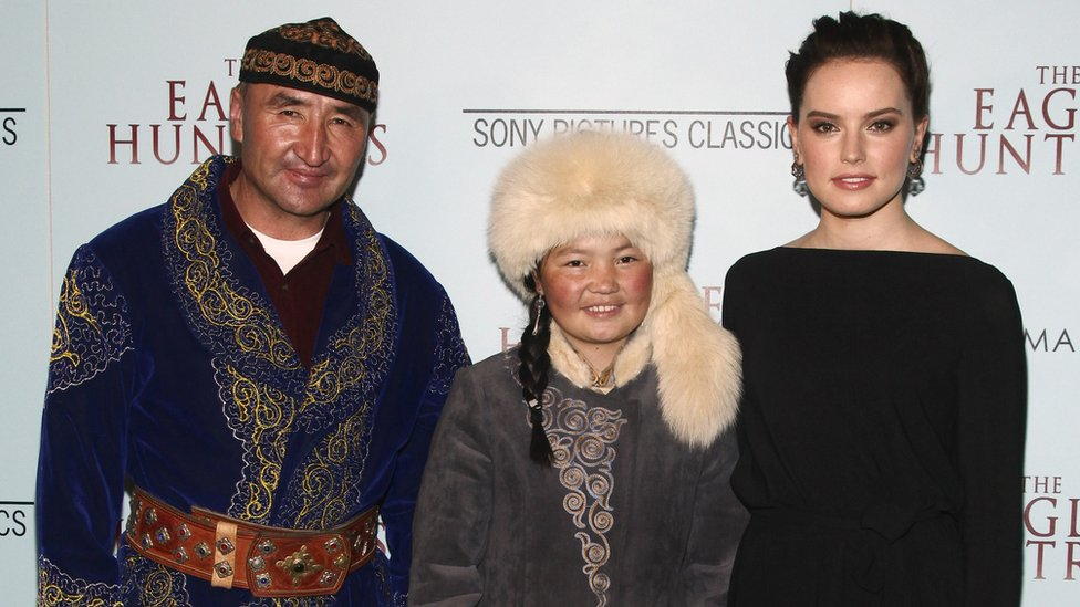 Nurgaiv Rys, Aisholpan and Daisy Ridley attend a special screening of The Eagle Huntress