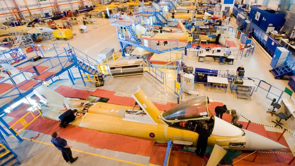 Eurofighter Typhoon production line at BAE systems in Warton