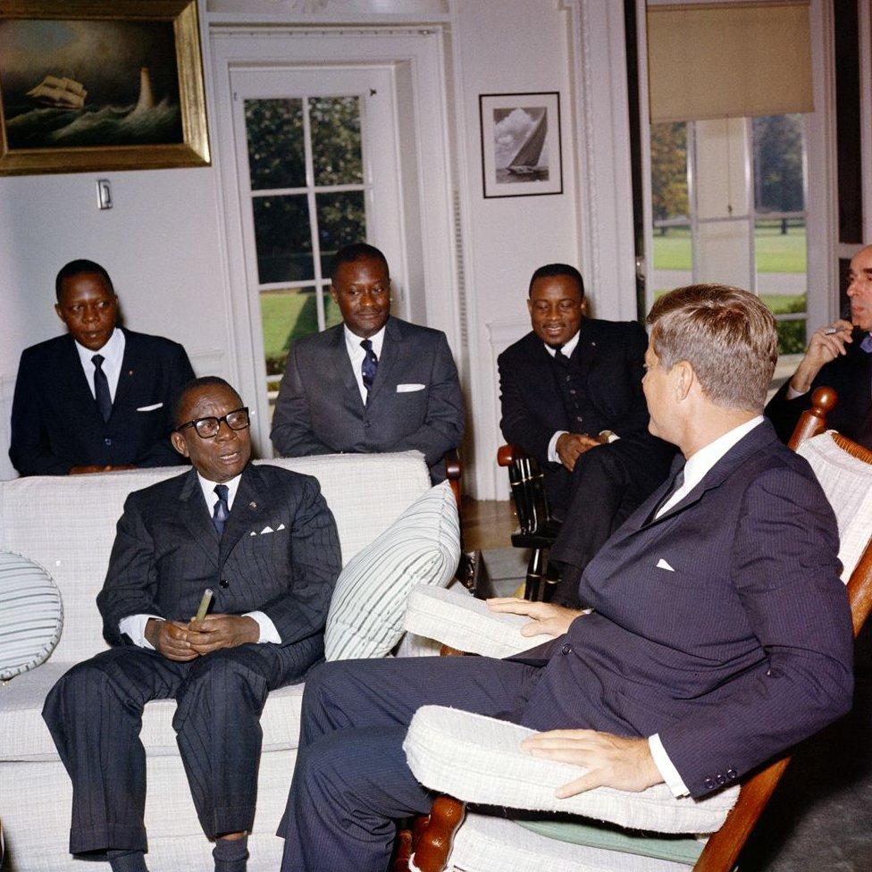 Presiden John F. Kennedy bertemu dengan William V.S. Tubman, Presiden Liberia