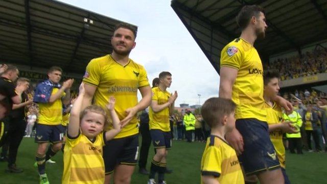 Oxford United celebrate League Two automatic promotion