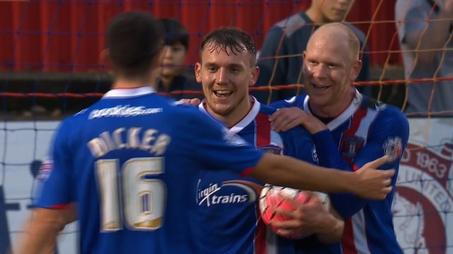 Charlie Wyke scores to complete his hat-trick for Carlisle United