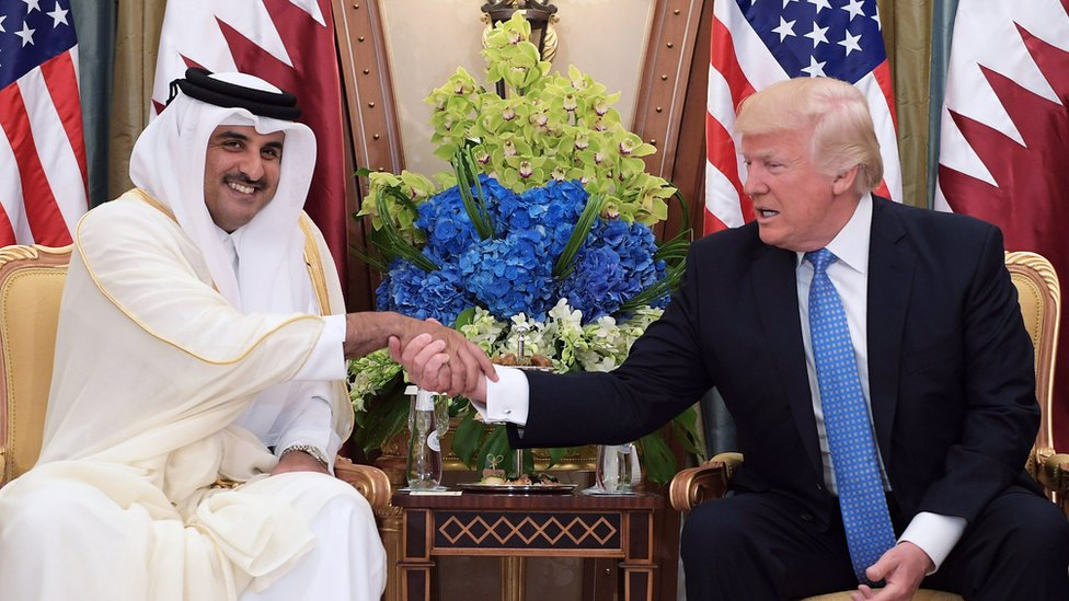 Sheikh Tamim bin Hamad Al Thani and President Donald Trump