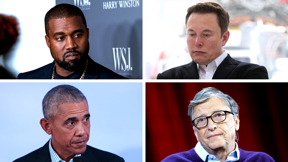 Kanye West, Elon Musk, Barack Obama y Bill Gates