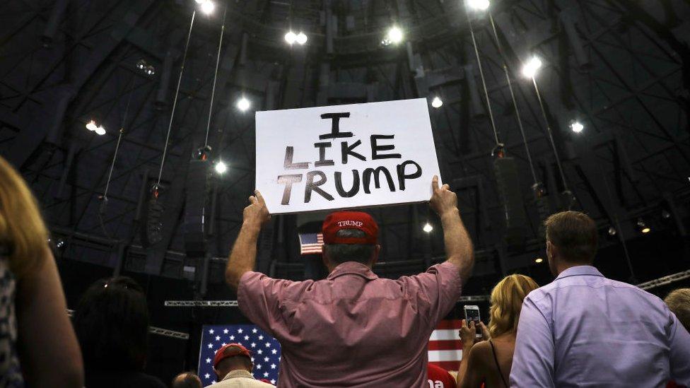 Una concentración en apoyo a Trump.
