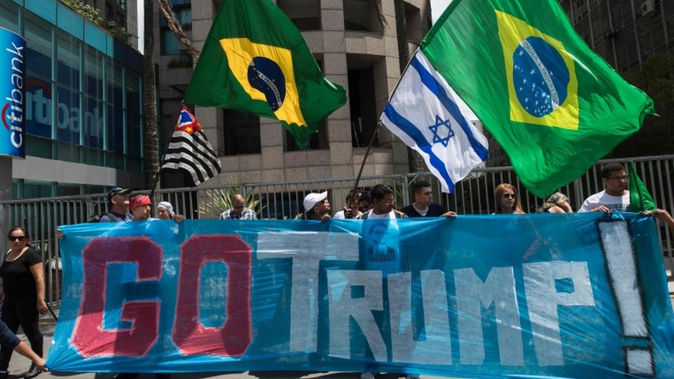 Supporters of US presidential candidate Donald Trump rally in Sao Paulo, Brazil on 29 October 2016