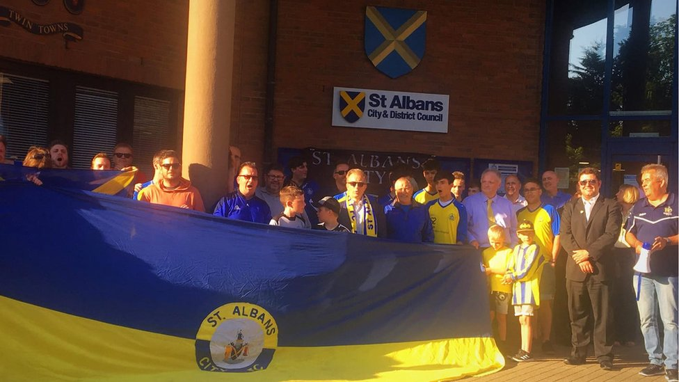 St Albans City FC supporters protested outside the planning meeting