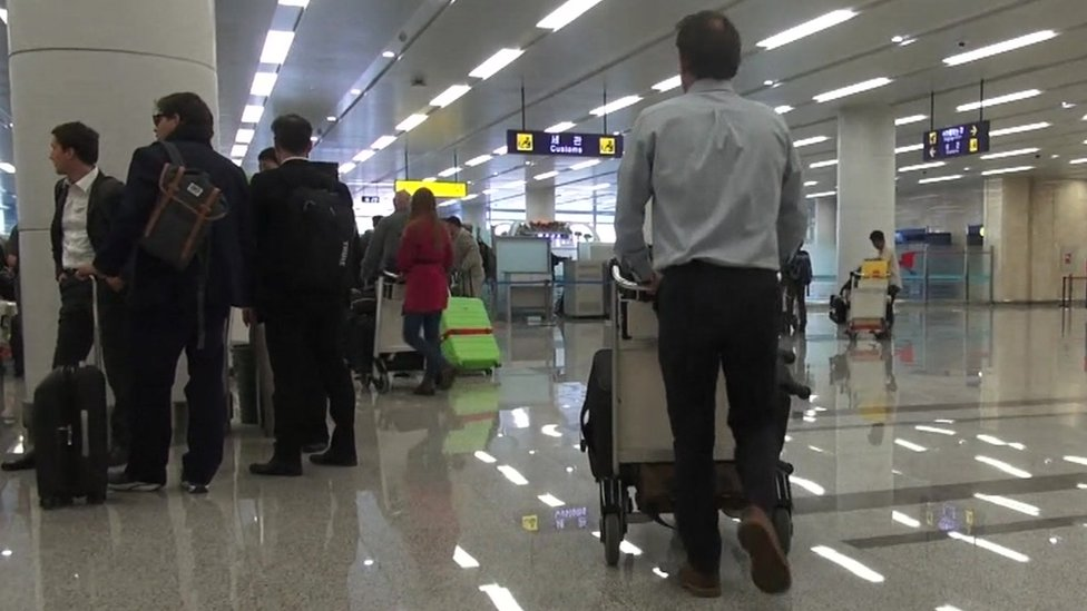 Scenes at Pyongyang airport