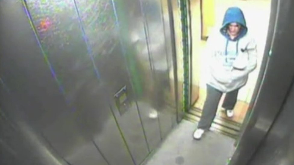 CCTV image of Sarah Sands entering a lift after leaving Pleasted's flat