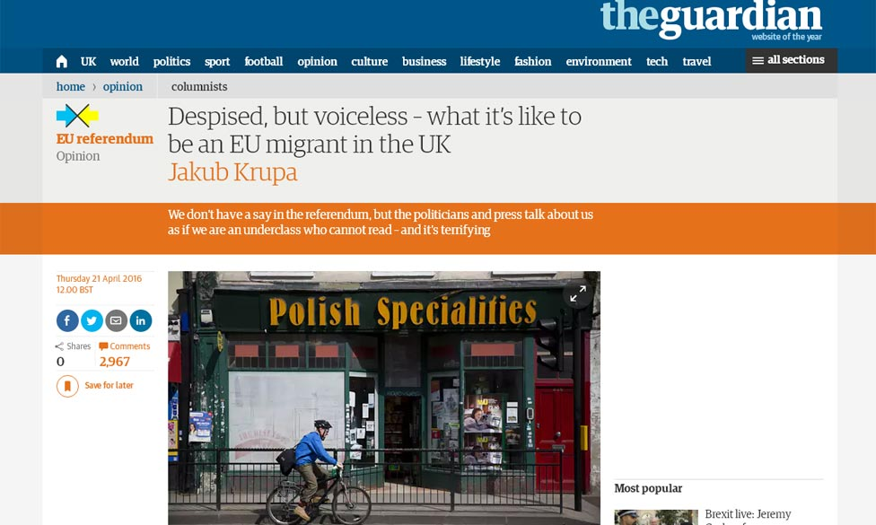 Comment in The Guardian