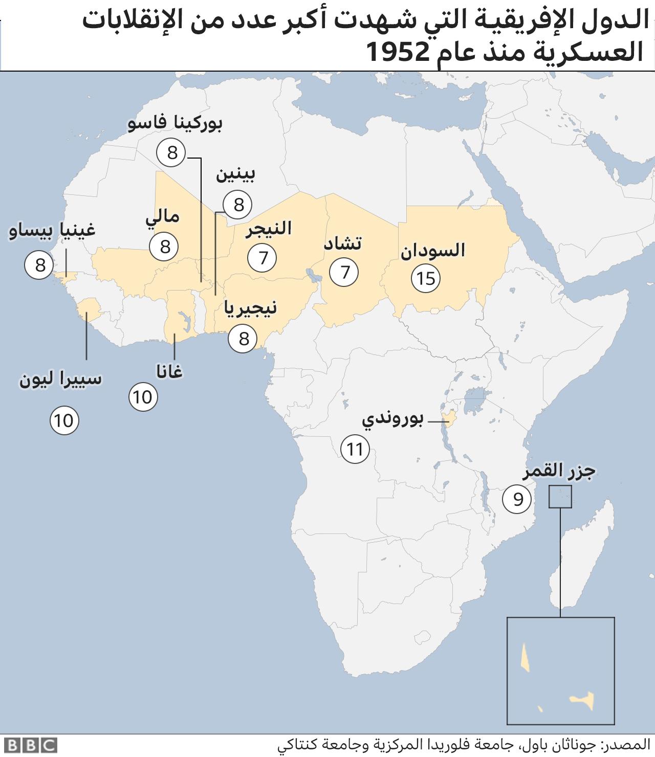 خريطة إفريقيا من حيث البلدان التي وقعت فيها محاولات الانقلاب. مايو/أيار 2021