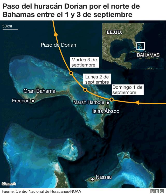 Paso del huracán Dorian sobre Bahamas.