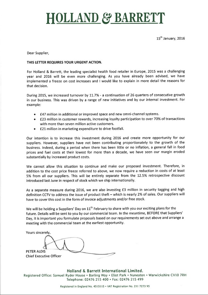 Full letter to suppliers from Holland & Barrett