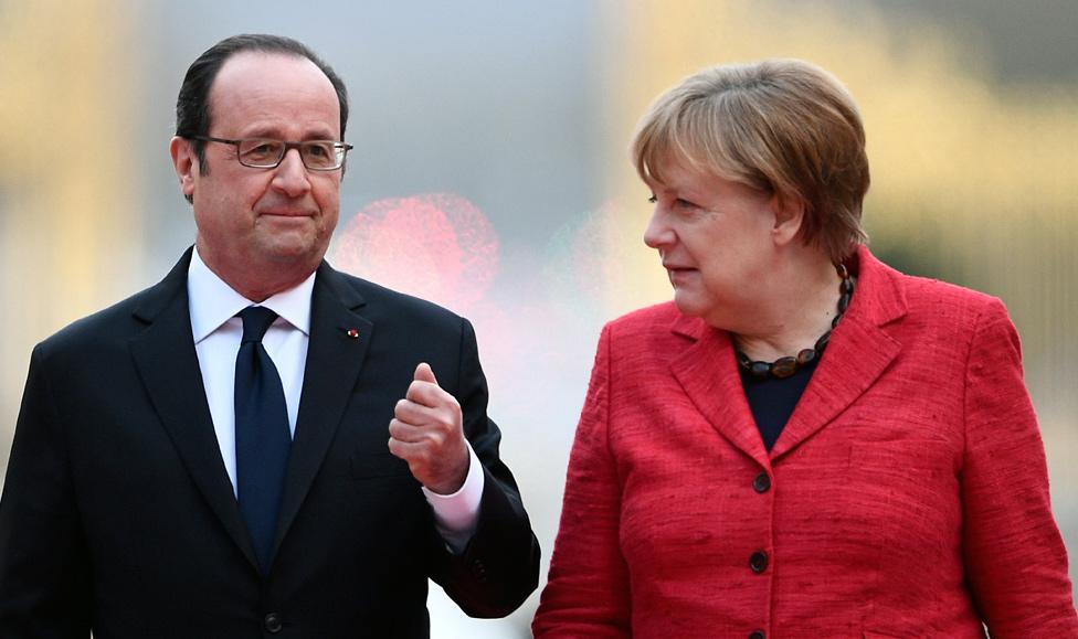 Francois Hollande and Angela Merkel in Versailles, 6 Mar 17
