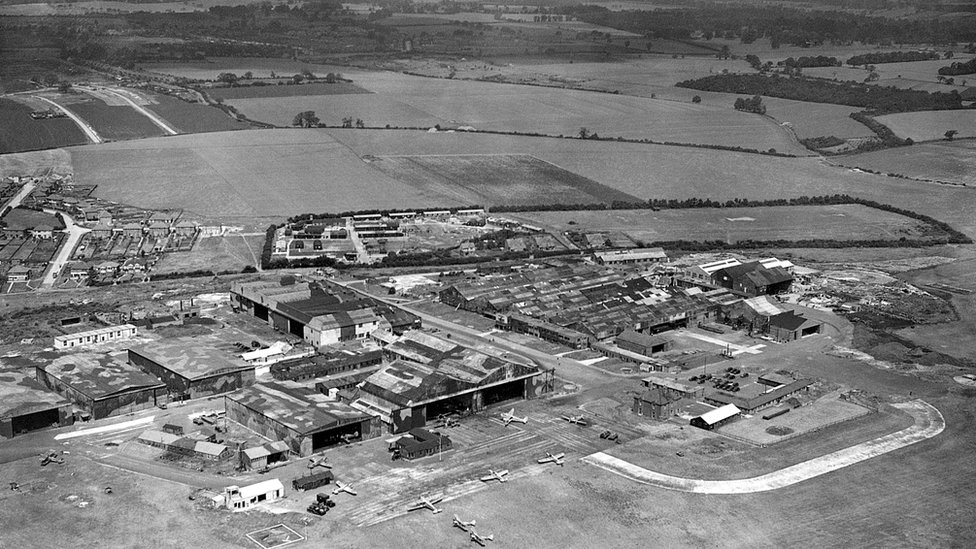 Luton Airport in camouflage in World War Two