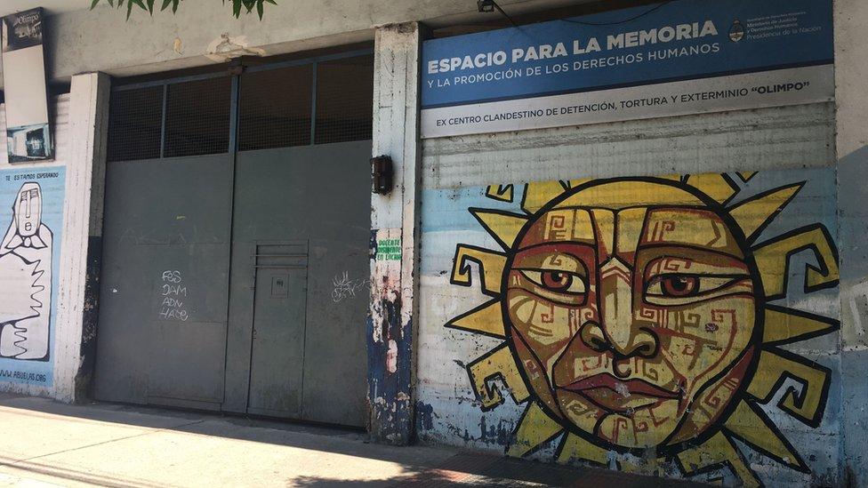 Gates of the former secret prison El Olimpo