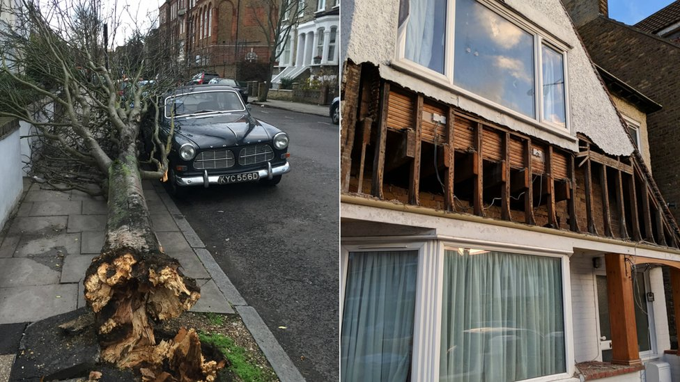 Vintage car in north London and house in Margate, after Storm Eleanor