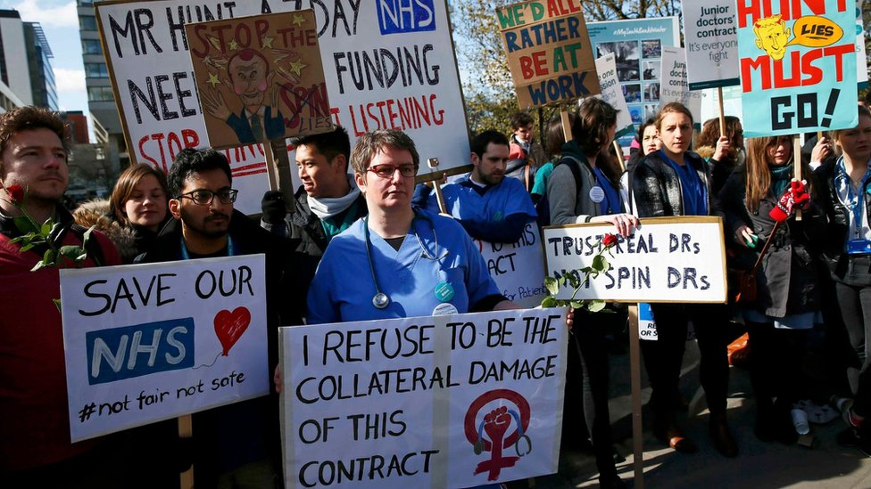 Striking junior doctors with placards