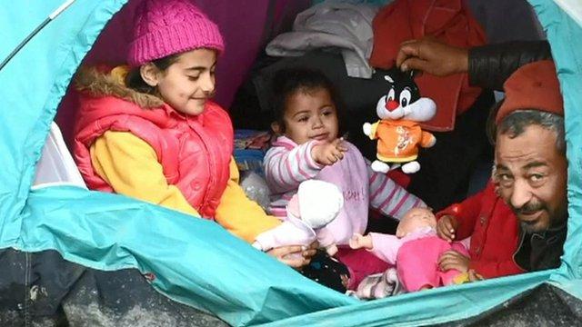 Migrants in tent on Greece-Macedonia border