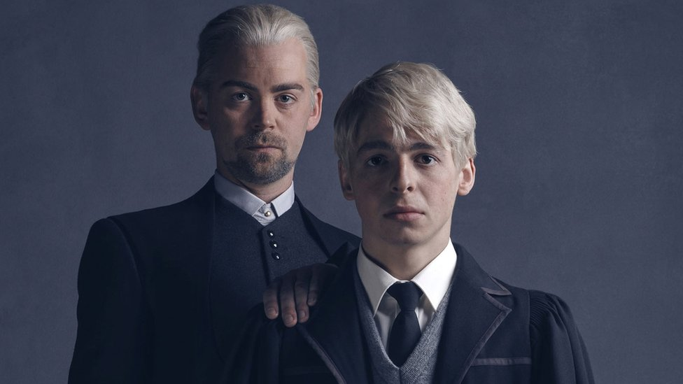 l-r Draco Malfoy (Alex Price), Scorpius Malfoy (Anthony Boyle) photo by Charlie Gray