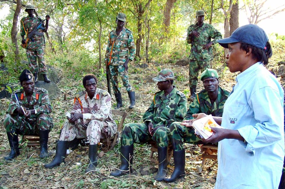 Betty Bigombe holding talks with the LRA in northern Uganda, December 2004