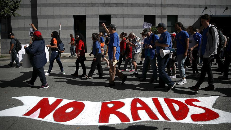 Protesters march during a May Day demonstration outside of a US Immigration and Customs Enforcement (ICE) in San Francisco