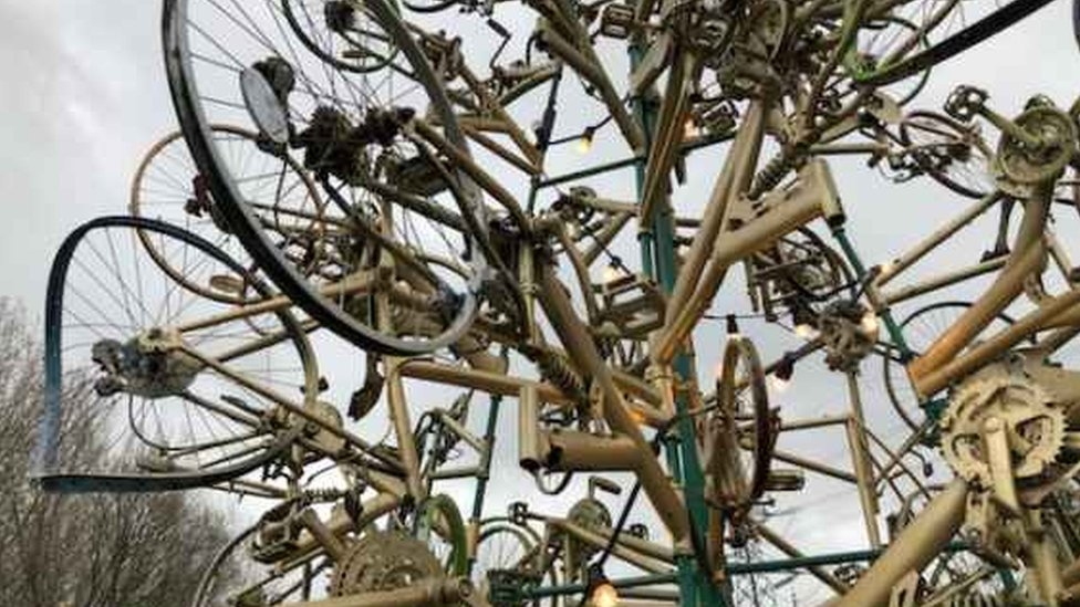 tree made from bicycles