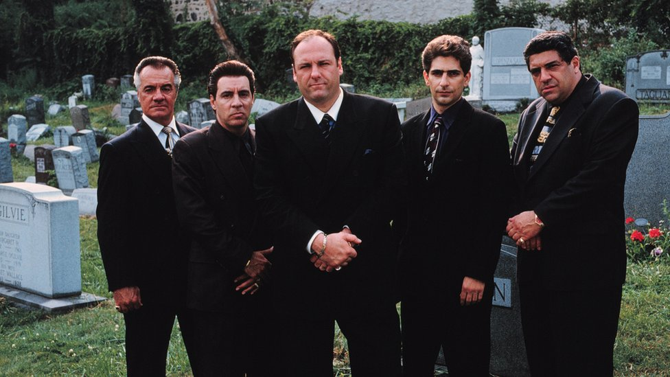 The cast of The Sopranos stand for a promotional photo